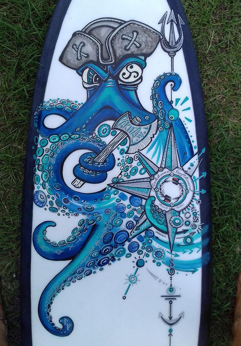pieuvre pirate décoration surfboard